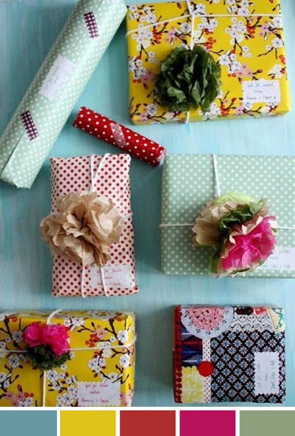 Inspiração do Dia | Embalagem presentes | Estampa, flor, adesivo
