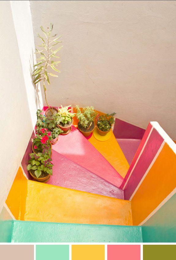 Achados da Bia | Inspiração do Dia | Escada colorida | Plantas