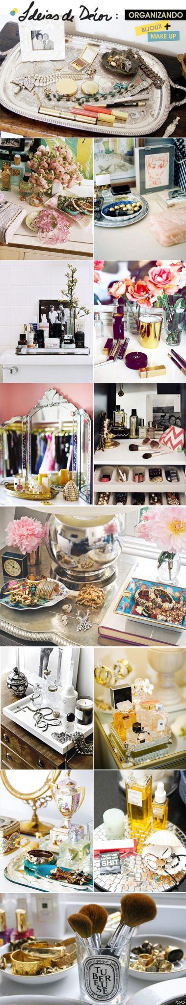 Achados da Bia | Ideas décor | Bandejas | Organização Make & Bijoux